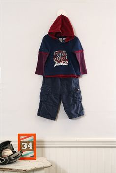 18 mo. Team Player bundle with Carters hoodie and Mini Boden cargo pants. Good dark colors for Fall.