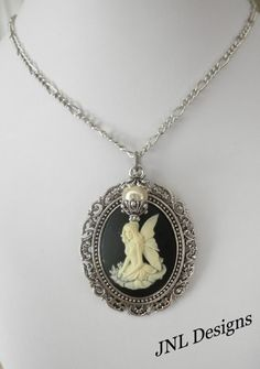 Black and Creme Fairy Cameo Necklace | jnldesigns - Jewelry on ArtFire