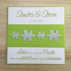 **Einladung zur Hochzeit Puzzle Design** Bei dieser Einladung habe ich mit den Farben Maigrün und Silber gearbeitet. Die Schrift habe ich passend dazu ausgesucht. Mittig hat die Karte eine...