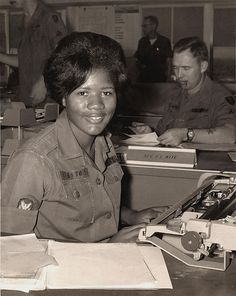 Specialist 4 Esther M. Gleaton, clerk-typist, WAC (Women's Army Corps) Detachment, Long Binh, Vietnam, 1968-1969.
