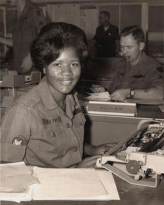 Specialist 4 Esther M. Gleaton, clerk-typist, WAC (Women's Army Corps) Detachment, Long Binh, Vietnam, 1968-1969.