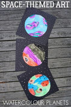 Watercolour Planets Space Themed Art for Kids is part of Preschool art projects - Get creative with this spacethemed art project for kids inspired by literature to create an imaginative set of watercolour planets Preschool Art Projects, Children Art Projects, Art Activities For Kids, Preschool Art Lessons, Class Art Projects, Space Projects, Art Lessons For Kids, Art Children, Art For Kindergarteners
