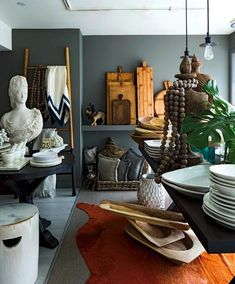 The merchandising at Hudson Grace tends towards the lived-in homey look.