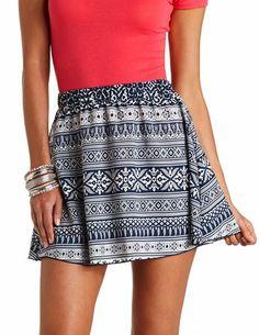 High-Waisted Tribal Print Skater Skirt: Charlotte Russe