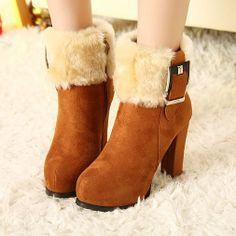Price:$31.99 Color: Black/Brown Material: Nubuck Leather Elegant Gorgeous Flocky Flush Spliced Buckle Warm Ankle Booties