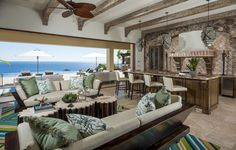 An open and inviting great room with high ceilings, authentic Mexican architecture and a summer kitchen to make entertaining easy. Villa 703 at Villas Del Mar | Palmilla, Los Cabos, Mexico