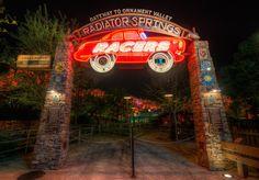 Radiator Springs Racers entrance, Cars Land lit up at night at Disney California Adventure  Photo By Michaela Hansen