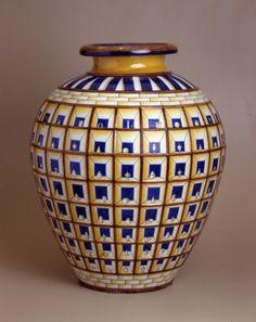 Gio Ponti, Vase ''  Prospectica '' 1925 - Polychrome majolica -  Richard Ginori Museum