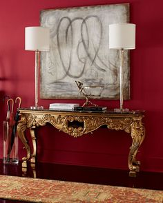 Inspired by the lavish interiors of Versailles, the Isabella console exudes a modern sensibility in sustainable acacia wood base with ornate antique gold-leafed Louis XV Rococo carvings and black marble top.