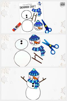 Do you want to build a frosty the snowman with your kids? Here's a simple cut Printable Crafts, Printable Templates, Free Printable, Snowman Coloring Pages, Snowflake Template, Construction Paper Crafts, Cotton Crafts, Frosty The Snowmen, Winter Crafts For Kids