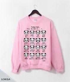 Japanese Panda Emoticon Crewneck Sweatshirt- Sweetheart Pink