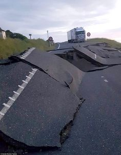 The force of the 7.8 magnitude earthquake ripped up State Highway 1 (pictured) from Picton to Kaikoura on the east coast