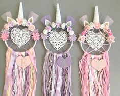 Personalised Heart Unicorn Dreamcatcher/ Wall Hanging / Nursery Decor