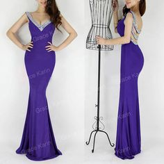 Sexy V Neck Backless Mermaid Evening Dresses Black/Red/Pink/Royal Blue/Purple/Green Long Party Dress Vestido Sereia 6061-in Evening Dresses from Weddings & Events on Aliexpress.com | Alibaba Group