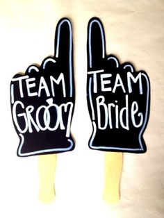 TEAM Bride Team Groom photo props With Writing by IttyBittyWedding