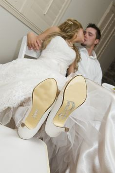 """My Matron of Honor put sparkly """"I DO"""" stickers on the bottom of my wedding heels for a picture-perfect moment like this at the reception! Thank you @Brittny Caporale :)"""