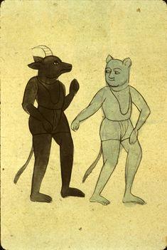 Two animal-headed demons or jinn, one blue and one black. From Zakarīyā' ibn Muḥammad al-Qazwīnī's Ajā'ib al-makhlūqāt (d. 1283/682).