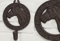 Cast Iron Horse Wall Hook, Set of 3 - From Antiquefarmhouse.com - http://www.antiquefarmhouse.com/current-sale-events/farmhouse9/horse-wall-hook.html