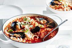 Seafood and tomato fregola