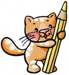 Kitten painter machine embroidery design. Machine embroidery design. www.embroideres.com