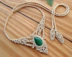 Collar de macrame de varita de cristal joyería de por SelinofosArt
