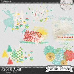 #2016 April - Inked Bits by Connie Prince. Includes 6 inked bits. Saved in PNG format. Scrap for hire / others ok.
