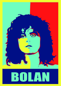 A Marc Bolan image that I created in the Obama pop art style.