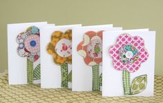 Fabric and felt flower cards by Dandelions and Doodles