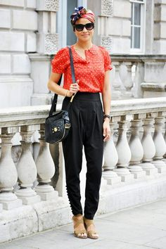 Simple, Adorable, Lovely - London Street Style....I probably wouldn't wear the headscarf though.