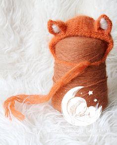 beautiful alpaca fox bonnet  newborn photo by MyLittleRarities