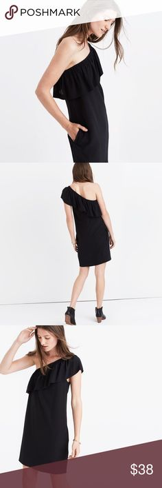 "Madewell Black Off The Shoulder Silk Dress Excellent condition! Silky soft black silk dress off the shoulder, stretch at the shoulder  • Length from armpit down 25""  • Chest 16"" • All measurements are taken on flat garment  • No Trading Madewell Dresses One Shoulder"