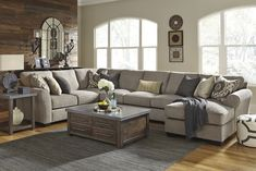 Pantomine Driftwood RAF Large Chaise Sectional Tyler's pick for living room sectional Cheap Living Room Sets, Coastal Living Rooms, Living Room Grey, Living Room Decor, Living Area, Cuddler Sectional, Large Sectional, Living Room Remodel, Quality Furniture
