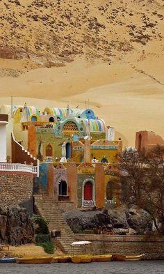Nubian Village on the banks of River Nile, Egypt.