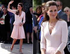 Catherine, Duchess of Cambridge and Prince William, Duke of Cambridge paid a visit to the Playford Civic Centre in the Adelaide, Australia on Wednesday (April 23). She wore an Alexander McQueen soft-pink V-neck peplum top and swing skirt with her L.K. Bennett 'Sledge' pumps and 'Natalie' clutch