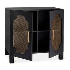 • MDF composite frame and tabletop<br>• Double doors with fixed shelves inside<br>• Metal hardware with brass finish<br><br>Set the Nate Berkus Screen Door Black Nightstand by your bed to hold all your nightly essentials. The spacious top with elegant ebony finish has ample room for your table lamp, alarm clock, water glass and books; everything else fits on the shelves behind the trendy screen doors. Levelers and non-slip base included for e...