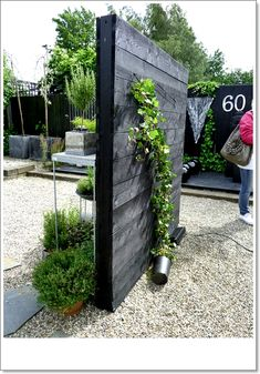 beautiful for growing ivy and once the whole wall is covered would look so cool! Dutch Gardens, Small Gardens, Outdoor Gardens, Patio Pergola, Backyard, Pergola Kits, Balcony Flowers, Black Garden, Fence Landscaping