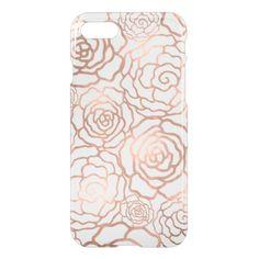 Faux Rose Gold Foil Floral Lattice Clear