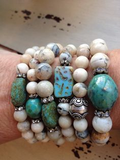 Ultimate Bohemian Glam African Opal Turquoise Pebble Rhinestone Chic Layering Stretch Bracelet