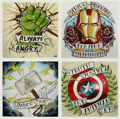 Avengers tattoo inspired print. Artist: Alivia (Best Tattoos Writing)
