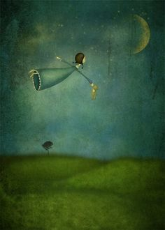 Fly me to the moon - Art print different sizes) - Maja Lindberg ETSY: Fly me to the moon – Illustration print (size 7 x - Moon Art Print, Moon Art, Amazing Art, Painting, Whimsical Art, Illustration Art, Art, Beautiful Art, Moon Illustration