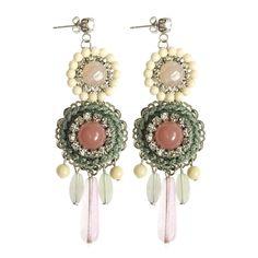 Earrings in resin, crystal and brass. Marù by Safrì