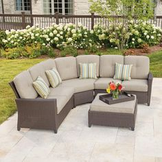 Hampton Bay Tacana Wicker Patio Sectional Set with Beige Cushions - The Home Depot Sectional Patio Furniture, Outdoor Lounge Furniture, Wicker Furniture, Outdoor Decor, Rustic Furniture, Wicker Dresser, Furniture Storage, Industrial Furniture, Garden Furniture
