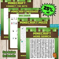Printable Inspired by Minecraft Creeper Paper by MyMinecraftParty, $2.00