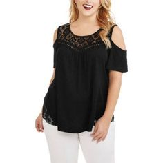 Faded Glory Women's Plus Solid Cold Shoulder Top With Lace Detail, Black