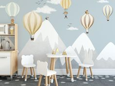 snow mountain nursery decor safari animals balloon wallpaper gray and blue mountain kids room wall mural blue sky hot air balloon wall mural - The Effective Pictures We Offer You About kids school A quality picture can tell you many things. Baby Bedroom, Baby Boy Rooms, Babies Rooms, Balloon Wall, Balloons, Air Balloon, Mountain Nursery, Mountain Mural, Blue Mountain