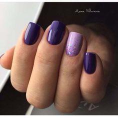 Manicure design – The Best Nail Designs – Nail Polish Colors & Trends Purple Gel Nails, Purple Nail Art, Purple Nail Designs, Nail Art Designs, Purple Makeup, Purple Nails With Design, Purple Wedding Nails, Shellac Nail Designs, Violet Nails