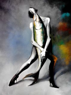 Dancing with the fish artwork by hedar abadi 90cm x 100cm oil on canvas