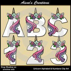 Unicorn Alphabet Letters & Numbers clip art