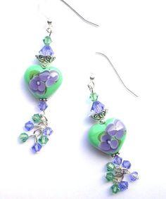 Mint green and purple heart earrings lampwork glass by Mindielee, $25.00
