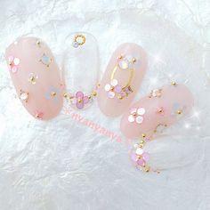 Japanese Nail Design, Japanese Nails, Girls Nails, Pink Nails, Japan Nail Art, Asian Nails, Crazy Nail Art, Acrylic Nail Shapes, Kawaii Nails